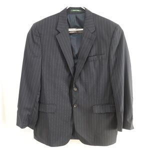 Ralph Lauren Black Mens Pinstripe Suit Jacket